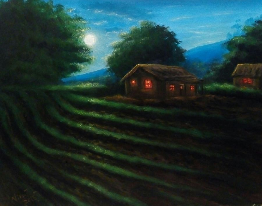 the reflective moon, 9 x 12 inch, niraj pradhan,landscape paintings,paintings for living room,thick paper,acrylic color,9x12inch,GAL04921209