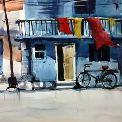 sweet blue home, 21 x 15 inch, sankar thakur,landscape paintings,paintings for living room,fabriano sheet,watercolor,21x15inch,GAL07121