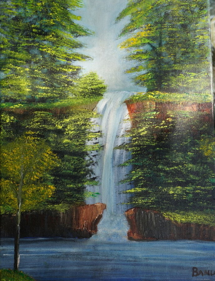 nature's colours, 12 x 16 inch, harshita bisht (banu),landscape paintings,paintings for living room,water fountain paintings,canvas,acrylic color,12x16inch,GAL04851210