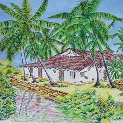 water color  house on river village house village home house under tree, 8 x 12 inch, aditya singh,paintings,realism paintings,paintings for dining room,paintings for living room,paintings for office,paintings for hotel,fabriano sheet,watercolor,8x12inch,GAL0506612100