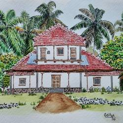 water color  village home bungalow village house, 8 x 12 inch, aditya singh,paintings,realism paintings,paintings for dining room,paintings for living room,paintings for bedroom,paintings for office,paintings for hotel,fabriano sheet,watercolor,8x12inch,GAL0506612101