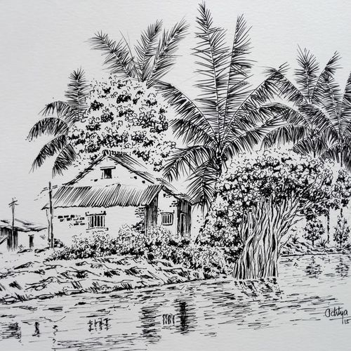 sketches ink sketch village house house by river, 8 x 12 inch, aditya singh,drawings,realism drawings,paintings for dining room,paintings for living room,paintings for bedroom,paintings for office,paintings for hotel,fabriano sheet,ink color,8x12inch,GAL0506612102