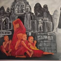 monk, 38 x 54 inch, bharat singh,paintings,modern art paintings,paintings for dining room,paintings for living room,paintings for office,paintings for hotel,paintings for dining room,paintings for living room,paintings for office,paintings for hotel,canvas,acrylic color,38x54inch,GAL0508412116