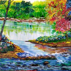 water reflection, 12 x 8 inch, surabhi srivastava,paintings,nature paintings,brustro watercolor paper,acrylic color,12x8inch,GAL0509912134Nature,environment,Beauty,scenery,greenery