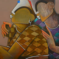 romantic couple, 36 x 18 inch, anupam  pal,paintings,abstract paintings,figurative paintings,paintings for dining room,paintings for living room,paintings for bedroom,paintings for office,paintings for bathroom,paintings for kids room,paintings for hotel,paintings for kitchen,canvas,acrylic color,mixed media,36x18inch,GAL08212136