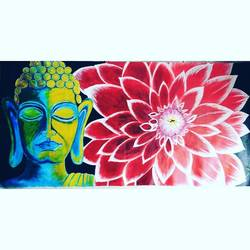 buddha with flower, 48 x 24 inch, praveen vijay,paintings,buddha paintings,paintings for living room,paintings for living room,canvas,acrylic color,48x24inch,religious,peace,meditation,meditating,gautam,goutam,buddha,lord,lotus,face,red,GAL0511412148