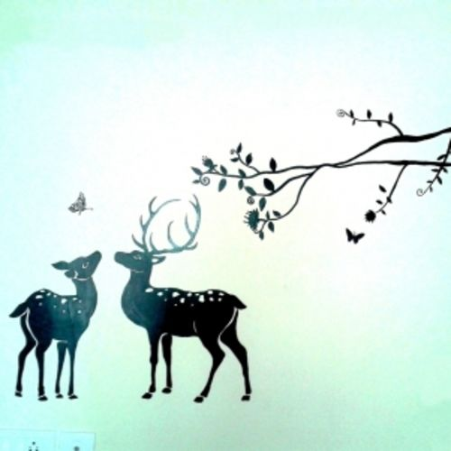 deer and butterfly, 12 x 17 inch, radha kashyap,paintings for living room,paintings for kids room,paintings for living room,paintings for kids room,animal paintings,drawing paper,pastel color,pencil color,watercolor,12x17inch,GAL0442112155