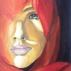 within her, 8 x 12 inch, ashika  iyer ,portrait paintings,canvas,acrylic color,8x12inch,GAL04971216