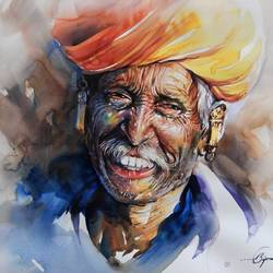 kaka -2, 20 x 14 inch, bijendra  pratap ,figurative paintings,paintings for living room,renaissance watercolor paper,watercolor,20x14inch,GAL04531217