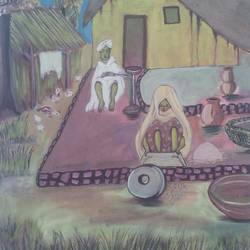 rural lifestyle, 18 x 24 inch, surendra kumar,landscape paintings,paintings for dining room,paintings for living room,paintings for hotel,canvas,oil,18x24inch,GAL0507512173