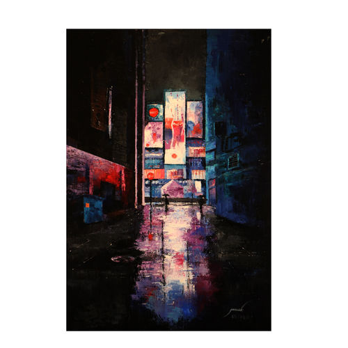 cityscape, 24 x 26 inch, jineesh  k jois,cityscape paintings,impressionist paintings,paintings for dining room,paintings for living room,paintings for bedroom,paintings for office,paintings for hotel,paintings for dining room,paintings for living room,paintings for bedroom,paintings for office,paintings for hotel,landscape paintings,canvas,acrylic color,24x26inch,GAL0512212176
