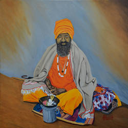 sage, 30 x 30 inch, ajay harit,paintings,religious paintings,realism paintings,paintings for living room,paintings for office,canvas,oil,30x30inch,GAL0199812177