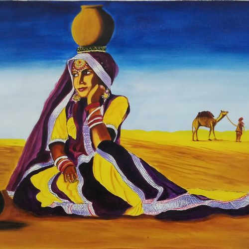 lonely women in desert with ghada, 18 x 24 inch, sandhya kumari,paintings,folk art paintings,landscape paintings,nature paintings,photorealism paintings,paintings for dining room,paintings for living room,paintings for bedroom,paintings for office,paintings for kids room,paintings for hotel,paintings for kitchen,canvas,acrylic color,18x24inch,GAL0365912185Nature,environment,Beauty,scenery,greenery