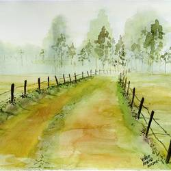 misty morning , 15 x 11 inch, vivek anand,paintings,landscape paintings,brustro watercolor paper,watercolor,15x11inch,GAL0366012188