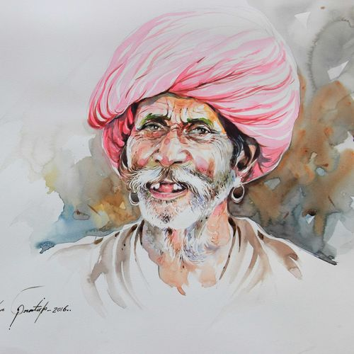 growing old-3, 20 x 14 inch, bijendra  pratap ,figurative paintings,paintings for living room,renaissance watercolor paper,watercolor,20x14inch,GAL04531219