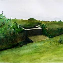 water tank, 15 x 11 inch, vivek anand,paintings,landscape paintings,brustro watercolor paper,watercolor,15x11inch,GAL0366012191