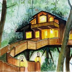 forest hanging house, 15 x 11 inch, vivek anand,landscape paintings,brustro watercolor paper,watercolor,15x11inch,GAL0366012192