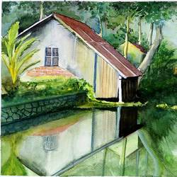 calm water stream, 15 x 11 inch, vivek anand,paintings,landscape paintings,paintings for living room,brustro watercolor paper,watercolor,15x11inch,GAL0366012193