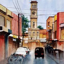 jamnagar after rains, 15 x 11 inch, vivek anand,paintings,landscape paintings,brustro watercolor paper,watercolor,15x11inch,GAL0366012194