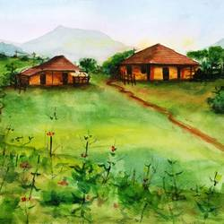 nashik village scence, 15 x 11 inch, vivek anand,paintings,landscape paintings,brustro watercolor paper,watercolor,15x11inch,GAL0366012195