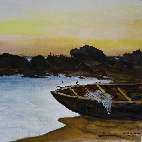 muttom beach, 27 x 20 inch, vivek anand,paintings,landscape paintings,fabriano sheet,watercolor,27x20inch,GAL0366012196