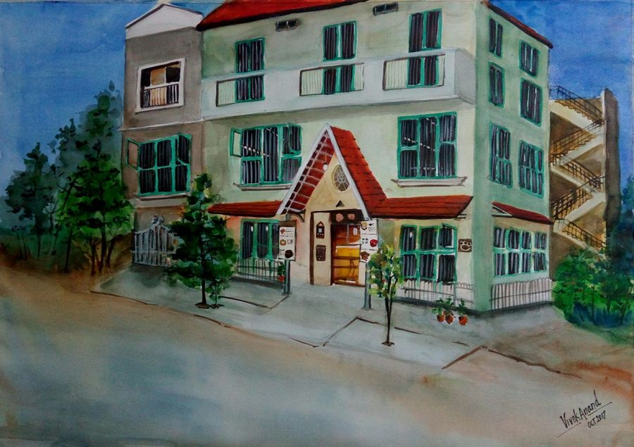 mighty paws cafe, 27 x 19 inch, vivek anand,paintings,landscape paintings,fabriano sheet,watercolor,27x19inch,GAL0366012198