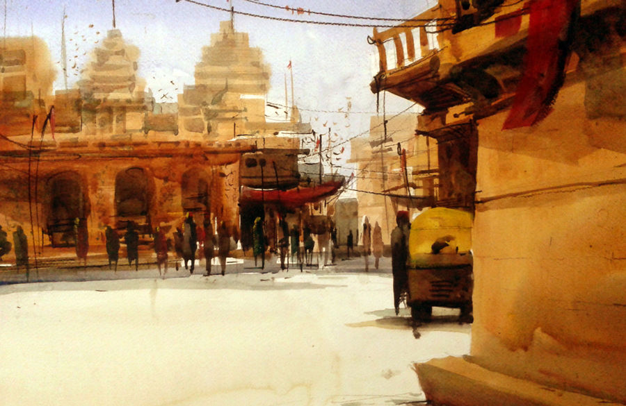 yellow temple, 21 x 15 inch, sankar thakur,landscape paintings,paintings for living room,fabriano sheet,watercolor,21x15inch,GAL07122