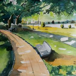 brindavan garden, 14 x 10 inch, vivek anand,paintings,landscape paintings,canson paper,watercolor,14x10inch,GAL0366012200