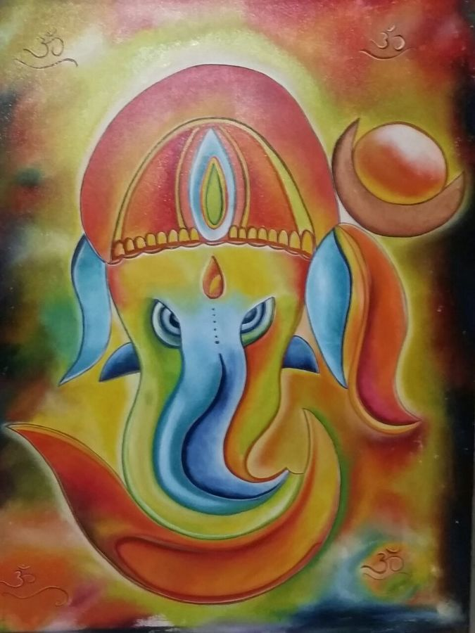 ganesha - god series (1), 36 x 48 inch, ankur gaur,paintings,abstract paintings,paintings for living room,paintings for living room,canvas board,oil,36x48inch,GAL0296812202