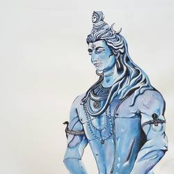 shiva, 9 x 12 inch, ravindra godse,religious paintings,paintings for living room,paintings for office,paintings for living room,paintings for office,lord shiva paintings,paper,poster color,9x12inch,GAL0511812206