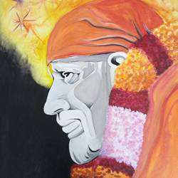 saibaba, 16 x 20 inch, ravindra godse,paintings,religious paintings,paintings for living room,paintings for bedroom,paintings for hotel,canvas,poster color,16x20inch,GAL0511812213