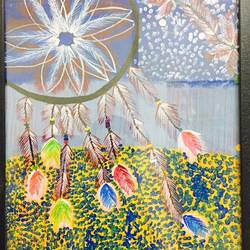 dream catcher, 17 x 14 inch, runjhun  jain,paintings,modern art paintings,paintings for living room,paintings for office,ivory sheet,acrylic color,17x14inch,GAL0210712236