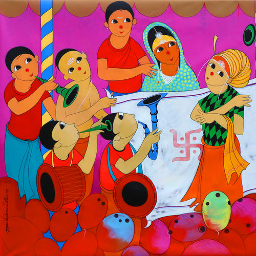 wedding , 60 x 48 inch, dnyaneshwar  bembade ,paintings,figurative paintings,canvas,acrylic color,60x48inch,GAL046412238