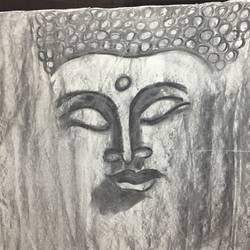 loving buddha , 22 x 14 inch, runjhun  jain,modern drawings,paintings for dining room,paintings for living room,ivory sheet,charcoal,22x14inch,GAL0210712240