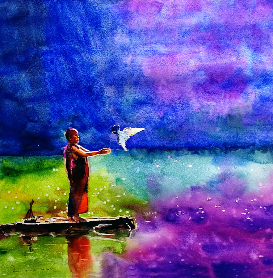 let it free, 18 x 18 inch, jeyaprakash m,paintings,figurative paintings,conceptual paintings,expressionist paintings,realism paintings,realistic paintings,paintings for living room,paintings for bedroom,paintings for kids room,paintings for hotel,paintings for living room,paintings for bedroom,paintings for kids room,paintings for hotel,canson paper,watercolor,18x18inch,GAL0110212241