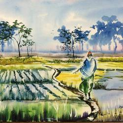 the sage, 22 x 15 inch, dipankar  biswas,paintings,landscape paintings,paintings for dining room,handmade paper,watercolor,22x15inch,GAL0293212242