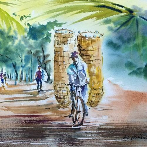 the basket boy, 22 x 15 inch, dipankar  biswas,paintings,landscape paintings,paintings for living room,handmade paper,watercolor,22x15inch,GAL0293212243