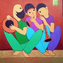 music man 2, 36 x 36 inch, dnyaneshwar  bembade ,paintings,figurative paintings,canvas,acrylic color,36x36inch,GAL046412244