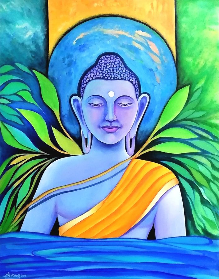 buddha, 24 x 30 inch, a.b.  kaser,paintings,buddha paintings,figurative paintings,paintings for dining room,paintings for living room,paintings for office,paintings for kids room,paintings for dining room,paintings for living room,paintings for office,paintings for kids room,canvas,acrylic color,24x30inch,religious,peace,meditation,meditating,gautam,goutam,buddha,colourful,GAL063612247