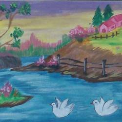 beauty of lake , 12 x 10 inch, peddu sruta keerthi,nature paintings,paintings for living room,canvas,acrylic color,12x10inch,GAL0522812253Nature,environment,Beauty,scenery,greenery