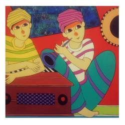 music friends , 24 x 24 inch, dnyaneshwar  bembade ,paintings,figurative paintings,canvas,acrylic color,24x24inch,GAL046412259