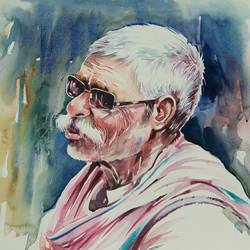 growing old-3, 20 x 14 inch, bijendra  pratap ,figurative paintings,paintings for living room,renaissance watercolor paper,watercolor,20x14inch,GAL04531226