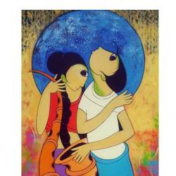 music love , 24 x 48 inch, dnyaneshwar  bembade ,paintings,figurative paintings,paintings for bedroom,canvas,acrylic color,24x48inch,GAL046412260