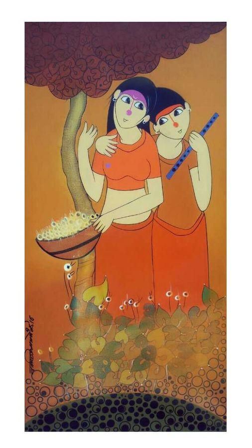 music love 2, 24 x 48 inch, dnyaneshwar  bembade ,paintings,figurative paintings,canvas,acrylic color,24x48inch,GAL046412261