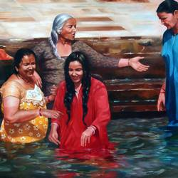sacred bath, 40 x 30 inch, achyut banerjee,paintings,realism paintings,paintings for living room,paintings for living room,canvas,oil,40x30inch,GAL0522212265