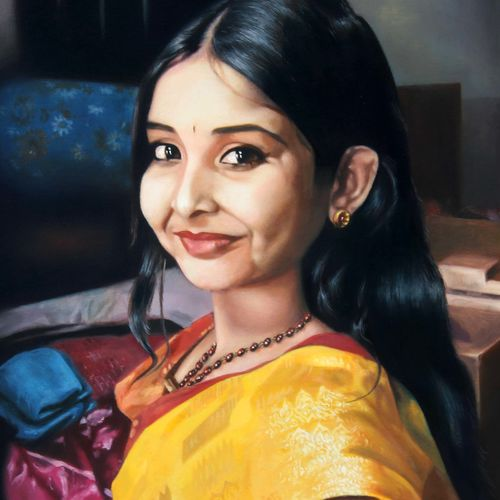 the smile, 24 x 40 inch, achyut banerjee,realism paintings,paintings for living room,figurative paintings,paintings for dining room,paintings for bedroom,paintings for office,canvas,oil,24x40inch,GAL0522212268