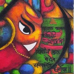 jai ganesha, 8 x 12 inch, ankush gedam,paintings,abstract paintings,religious paintings,paintings for office,thick paper,ceramic work,8x12inch,GAL0523512269