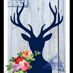 Colourfull flower with black deer  art print by Gallerist