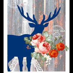 Pink glossy flower with deer art print by Gallerist