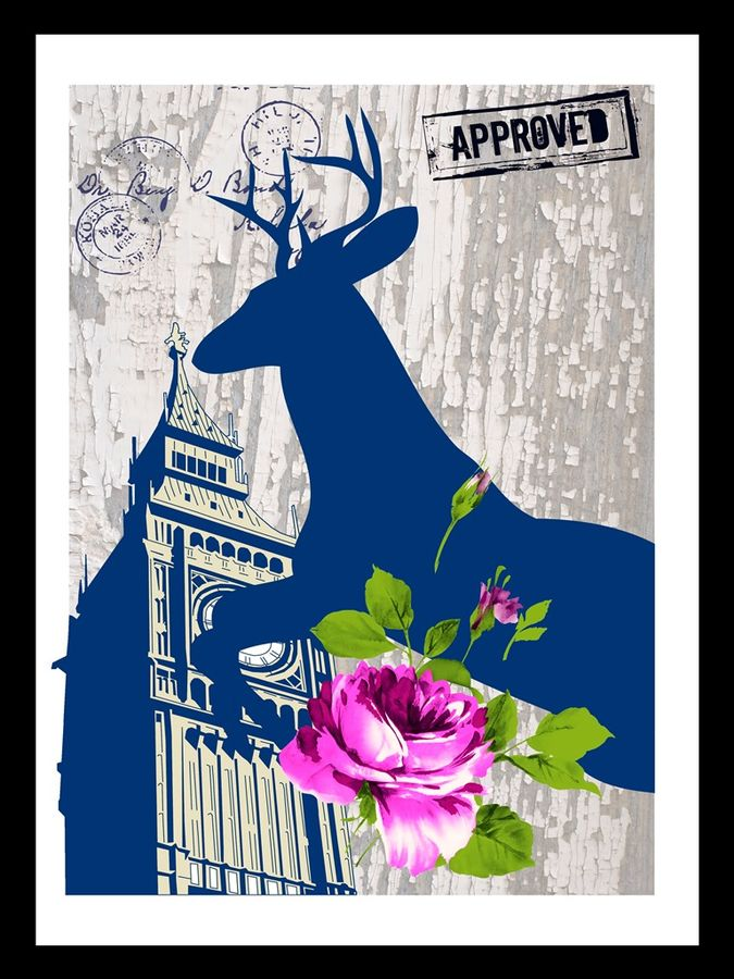 Pink flower with clock tower and a deer